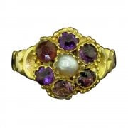 12ct Gold Amethyst & Pearl Victorian Cluster Ring