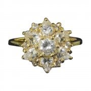 14ct Gold Cubic Zirconia Daisy Cluster Ring