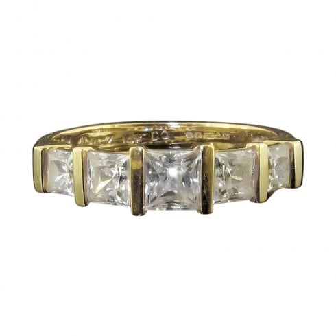 14ct Gold Cubic Zirconia Five Stone Ring
