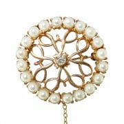 14ct Gold Pearl & Diamond Brooch