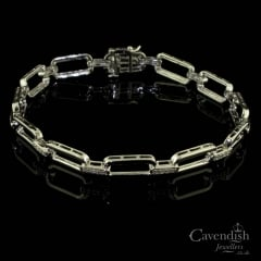 14ct White Gold And Diamond Link Bracelet
