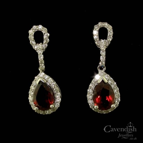 14ct White Gold Garnet And Diamond Drop Earrings