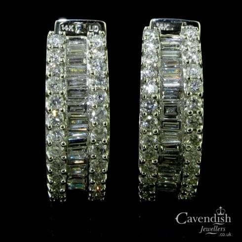 cac90b4a5 14ct White Gold Mixed Cut Diamond Hoop Earrings - from Cavendish Jewellers  Ltd UK