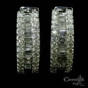 14ct White Gold Mixed Cut Diamond Hoop Earrings
