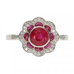 14ct White Gold Ruby and Diamond Fancy Cluster Ring