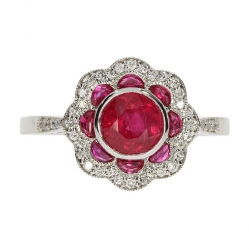 14ct White Gold Ruby & Diamond Fancy Cluster Ring