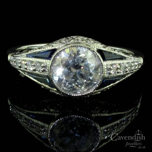 14ct White Gold, Sapphire And Diamond Filigree Solitaire Ring