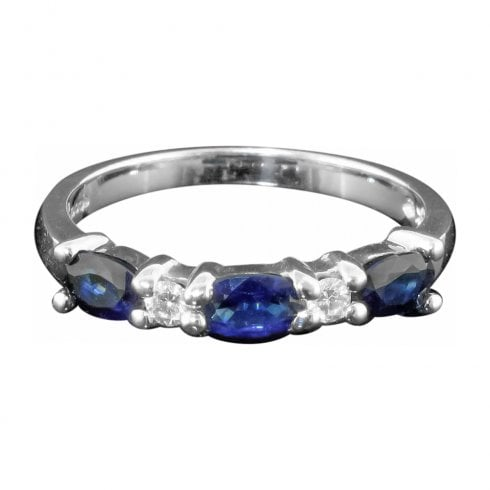 14ct White Gold Sapphire And Diamond Half Hoop Ring