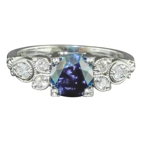 14ct White Gold Treated Blue Diamond Solitaire Ring