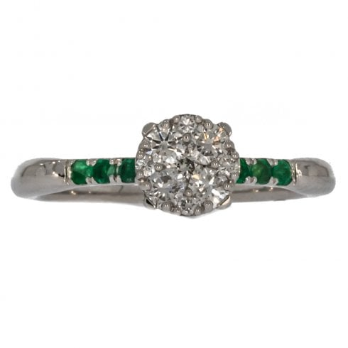 18ct Diamond and Emerald Cluster Ring