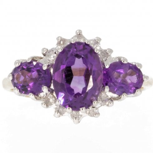 18ct Gold Amethyst And Diamond Trilogy Cluster Ring