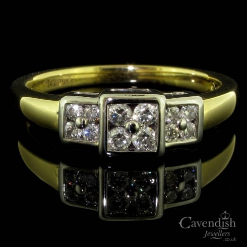 18ct Gold And Diamond Triple Cluster Ring