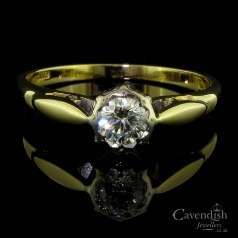 18ct Gold And Diamond Vintage Soliatire Ring