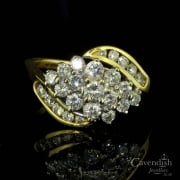18ct Gold & Diamond Cluster Twist Ring