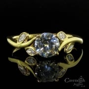 18ct Gold Leaf Design Solitaire Diamond Ring