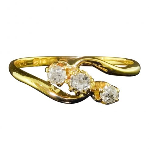 18ct Gold Old Cut Diamond Trilogy Ring