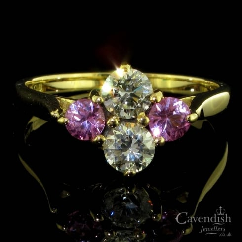 18ct Gold Pink Sapphire And Diamond 4 Stone Ring