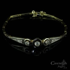 18ct Gold Platinum And Old Cut Diamond Bracelet
