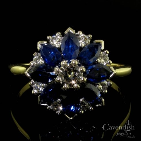 18ct Gold Sapphire And Diamond Flower Cluster Ring