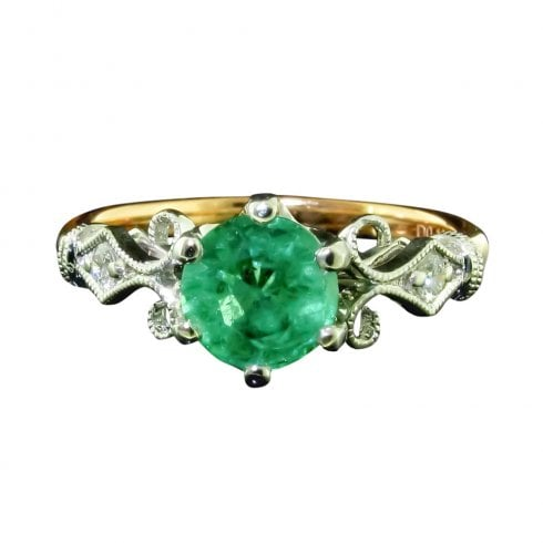 18ct Rose Gold Emerald And Diamond Solitaire Ring