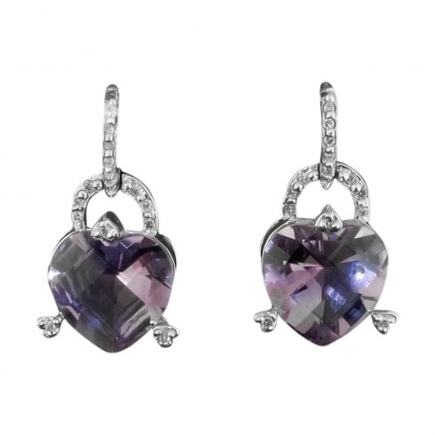 18ct White Gold Amethyst Heart And Diamond Drop Earrings