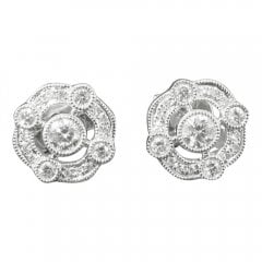 18ct White Gold And Diamond Cluster Stud Earrings