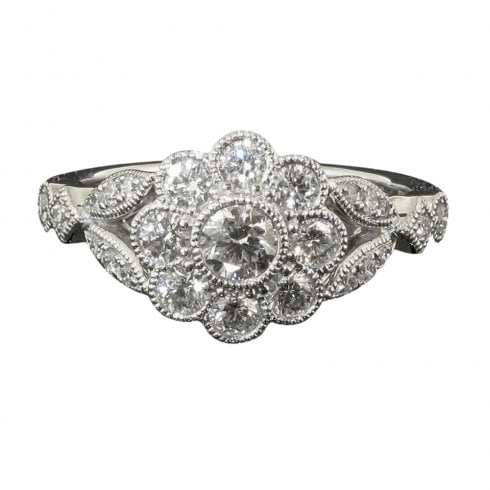 18ct White Gold And Diamond Floral Cluster Ring