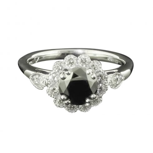 18ct White Gold Black And White Diamond Cluster Ring