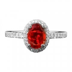 18ct White Gold Diamond and Fire Opal Ring