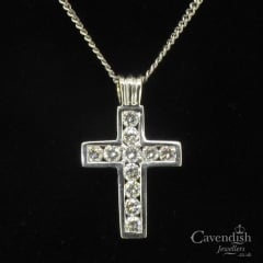 18ct White Gold Diamond Cross Necklace Pendant