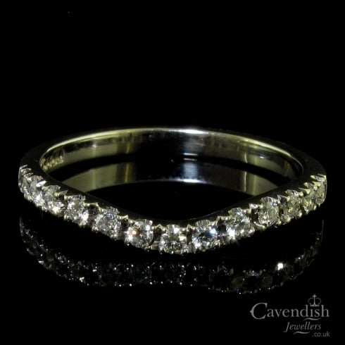18ct White Gold Diamond Curved Half Eternity Ring