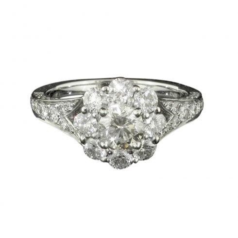 18ct White Gold Diamond Daisy Cluster Ring