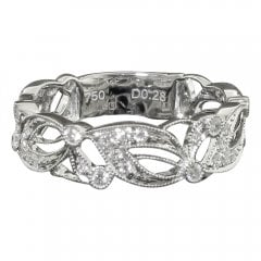 18ct White Gold Diamond Half Hoop Floral Ring