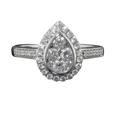 18ct White Gold Diamond Pear Shaped Cluster Ring