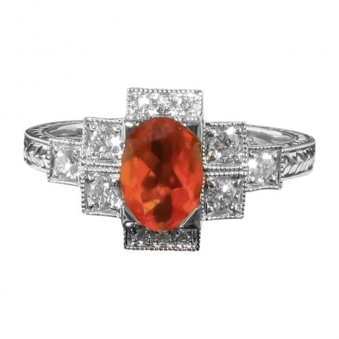 18ct White Gold Fire Opal And Diamond Ring