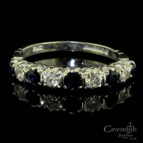 18ct White Gold Sapphire And Diamond Half Hoop Ring