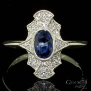 18ct White Gold Sapphire and Diamond Tablet Ring