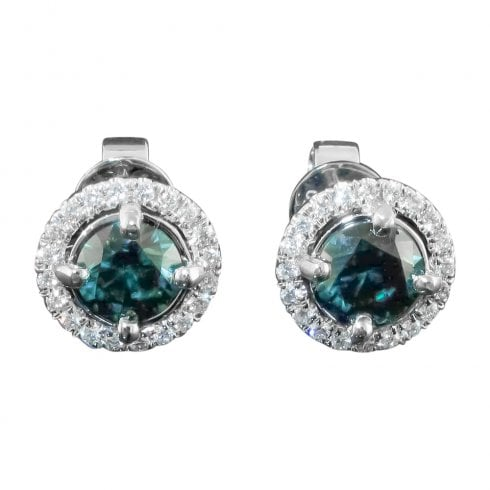 18ct White Gold Treated Green Diamond Halo Cluster Stud Earrings