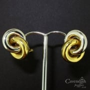 18ct Yellow And White Gold Intertwined Double Hoop Earrings