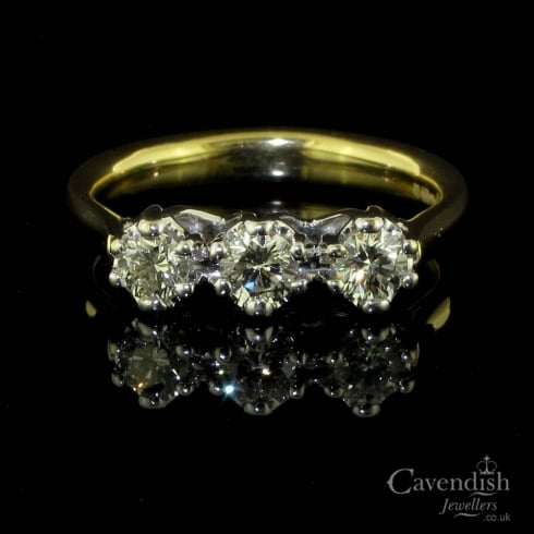 18ct Yellow Gold And Diamond Trilogy Ring