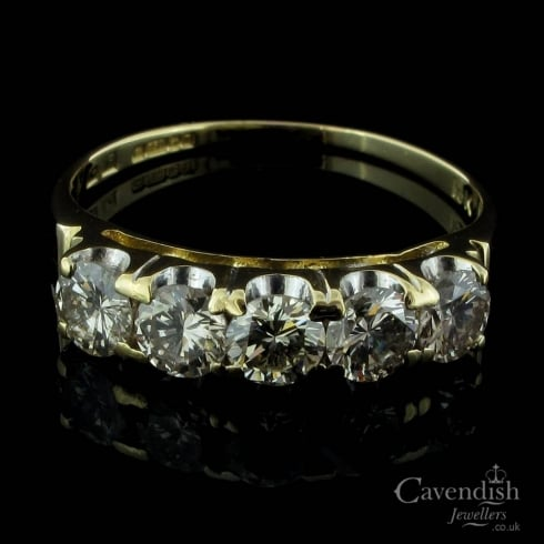 18ct Yellow Gold Diamond 5 Stone Ring