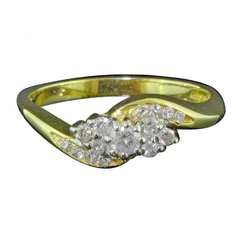 18ct Yellow Gold Diamond Twist Cluster Ring