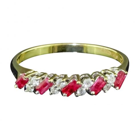 18ct Yellow Gold Ruby And Diamond Half Hoop Ring