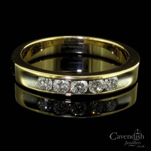 5 Stone Diamond Half Hoop Ring