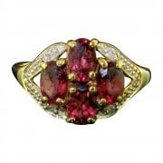 9ct Gold Almondine Garnet & Diamond Cluster Ring