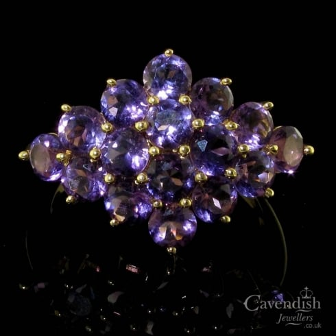 9ct Gold Amethyst Cluster Ring