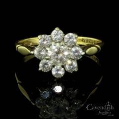 9ct Gold And Cubic Zirconia Flower Cluster Ring