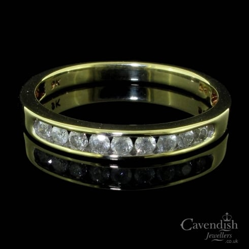 9ct Gold And Diamond Half Hoop Ring