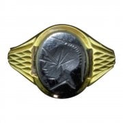 9ct Gold And Haematite Centurion Head Signet Ring