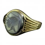 9ct Gold And Haematite Centurion's Head Signet Ring